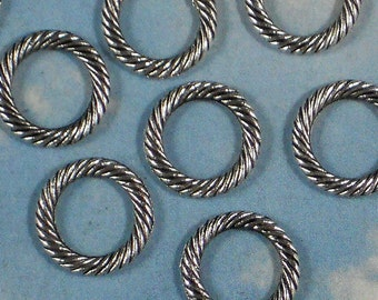 50 Twist Rope Circle Silver Rings Dangles Links 13mm  (P591)