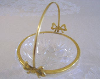 Vintage Crystal Bow Handle Trinket Basket