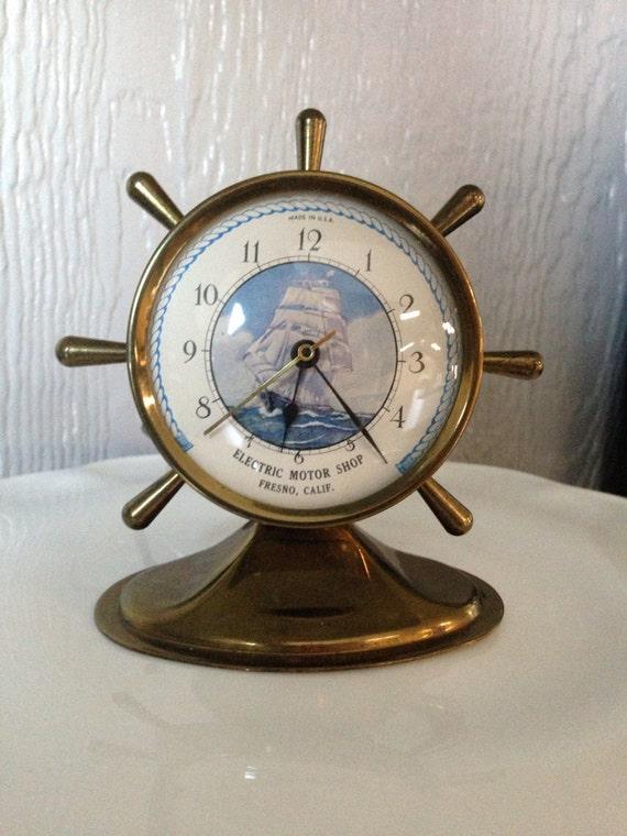 Items Similar To Vintage Brass Ships Wheel Mantle Clock
