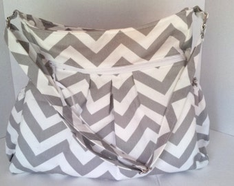 Gray Chevron Diaper Bag,Gray Chevron cross body bag, Zippered Diaper Bag