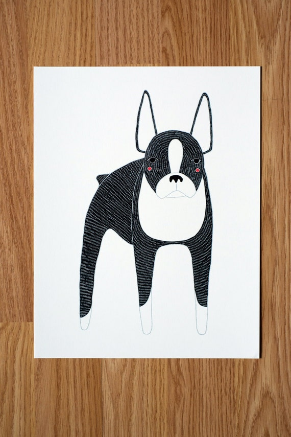 Boston Terrier Illustration - FREE US SHIPPING