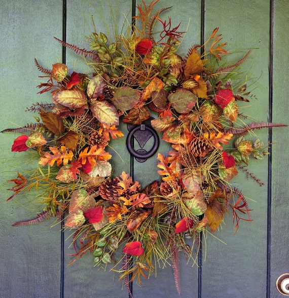 Tahoe Autumn -  Rustic Fall Leaf, Cone and Pine Wreath, Fall Wreath, Fall Leaf Wreath, Pine Wreath, Autunm Wreath, Harvest Decor