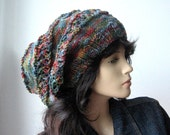 The Stacey Hat, Woman Hat, Slouchy Hat, Fall Accessories, Multicolor Slouchy Beanie, Winter Hat, Hand Knit Hat, Womens Accessories