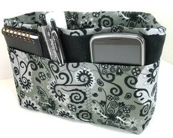 Purse Organizer Insert - Gray, Black and White -5 sizes available-Small size pictured- Made to Order