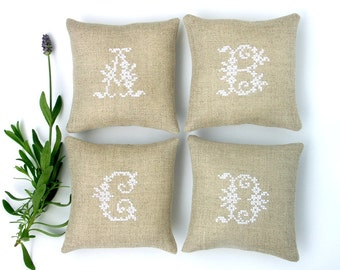 personalized bridesmaids gifts - embroidered lavender sachets with monograms - made to order