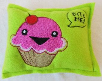 Bite Me Green with Cupcake Cat A Tonic Organic Catnip Pillow