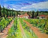 Art print of Original Painting Landscape TUSCANY Italy 8x10 Impressionism Giclee