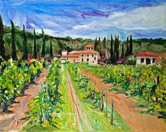 Art print of Original Painting Landscape TUSCANY Italy 8x10 Impressionism Giclee