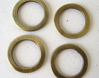 Antique Brass D Rings 1 Inch Large Flat Round Circle Set of 4