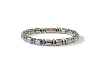 Mens Magnetic Therapy Bracelet, Black Hematite, Arthritis Jewelry