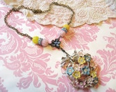 PASTEL assemblage necklace upcycled pin  flowers unique ooak  shabby chic