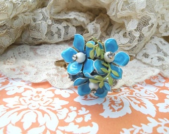 spring flower bangle bracelet wrist corsage enamel flower assemblage upcycled vintage jewelry pin