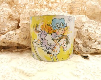 recycled tin cuff bracelet spring childhood graphics little girl image cottage chic ooak
