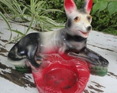 Chalkware German Shepherd  Dog Carnival Prize Ashtray.