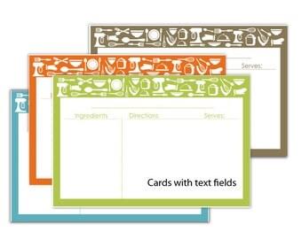 Kitchen Theme 4X6 Recipe Cards -  text fields - No 842