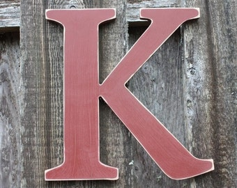 "18"" Wooden Letter Wall Letter Uppercase Shabby Chic Cottage Home Nursery Decor - Handpainted Red Rustic Wood Alphabet Letter K"