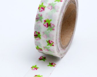 Washi Tape - 15mm - Sweet Pink Rosebuds - Deco Tape No. 685