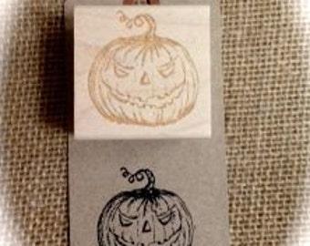 Halloween Jack o' Lantern Red Rubber Stamp 1.5 x 1.5 inch