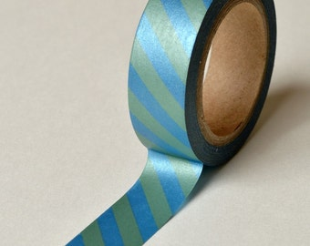 Washi Tape - 15mm - Blue and Green Metallic Shimmer Diagonal Stripe - Deco Paper Tape No. 776