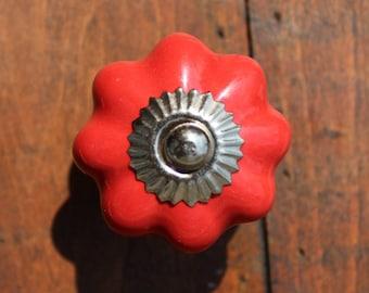 Drawer Knobs - Cabinet Knobs Ceramic Pumpkin in Red (CK32)