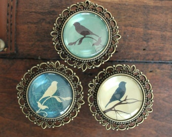 Ornate Drawer Knobs with Bird Silhouettes in Brass