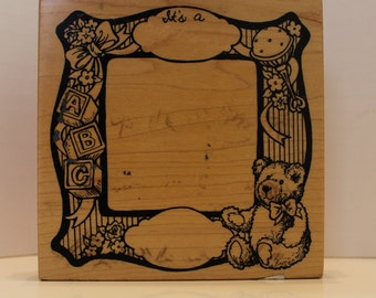 It's A Baby Announcement Frame rubber stamp PSX bear rattle blocks toys