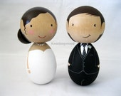 Custom Kokeshi peg doll wedding cake topper