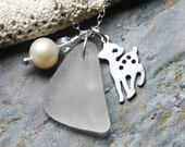 Winter Wonder. White Seaglass, Deer Charm & Pearl on Sterling Necklace