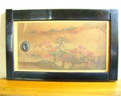 Vintage Japanese Small Sliding Door - Japanese Door - Vintage Door - Silk Landscape Autumn Leaves  San Shui Style Painting