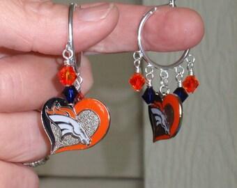 Denver Broncos Earrings,  Broncos Bling, Heart and Soul for Football Hoop Earrings, Pro Football Broncos Accessory