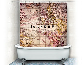 "Wander Fabric Shower Curtain ""Wander"" world map,typography,text,home decor,bath tub,neutral,beige,yellow,home decor,travel"