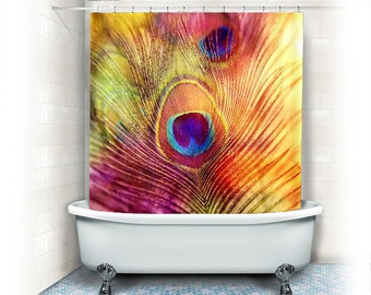 Peacock feather, fabric shower Curtain, orange,yellow,pink,bathroom, home decor,bath,nature,colorful