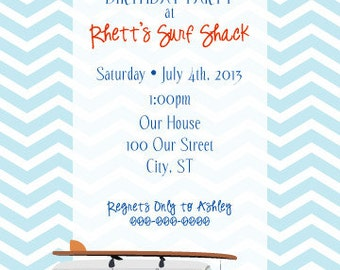 Vintage Car & Surfboard Birthday Party Invitation with Chevron