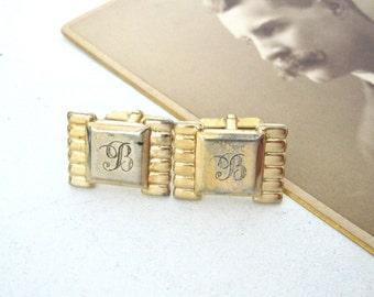 Vintage B Monogram Cufflinks, Goldtone Cuff Links by Anson