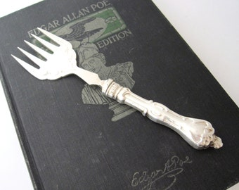 Sterling Handle Sardine Fork, by Ambassador Mfg England, Antique English Silver Serving Fork