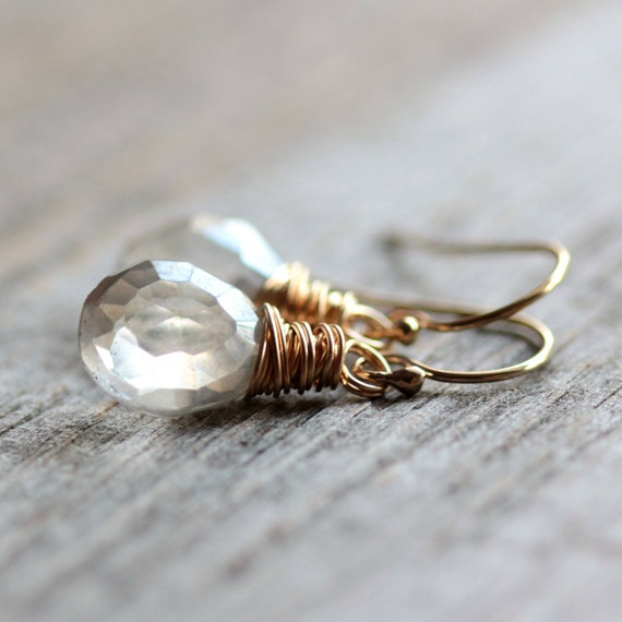 April Birthstone Earrings - Silver Gray Quartz and Gold Fill Wire Wrapped Earrings Wedding Bridal Diamond Fashion