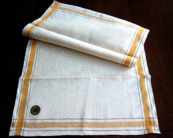 Kitchen Bath Vintage UNUSED Washstand Linen TOWEL Yellow Black Pin Stripes NEW