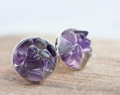 Rough Amethyst Men Cufflinks OOAK dark purple tribal cuff links for him groomsmen gift rustic organic design