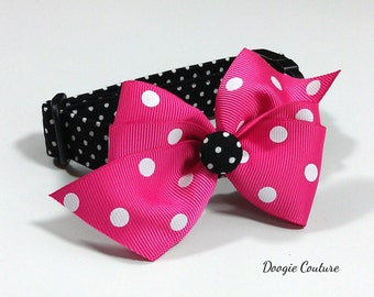 Black Dots Dog Collar Size XS through Large by Doogie Couture