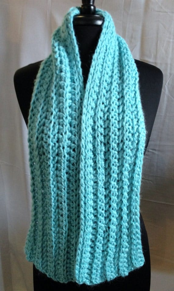 Crochet Scarf Patterns For Bulky Yarn : Items similar to Bulky Ribbed Scarf, Hand Crocheted ...