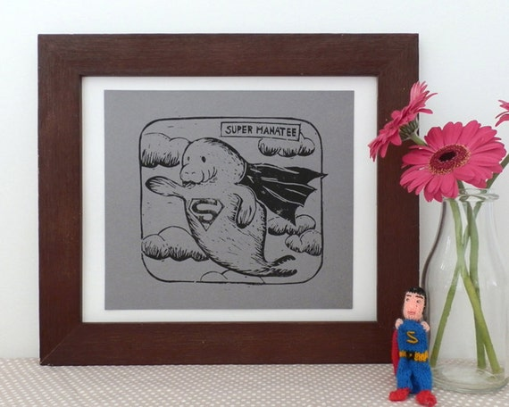 Super Manatee Comic Book Animal Linocut