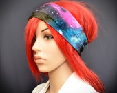 Stretchy headband with colorful galaxy, stars, planets and space print