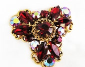 Regency Red and Red AB Brooch Pendant