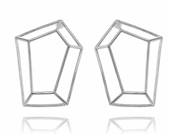Geometric Earrings, Architecture Silver Earrings, Bridal Earrings, Long Geo Earrings, Stud Earrings, Gifts For Her