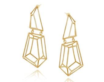 Geometric Long Earrings, Wedding Jewelry, Statement Earrings, Gifts for Her, Dangle Earrings, Chandelier Earrings, Bridal Long Earrings