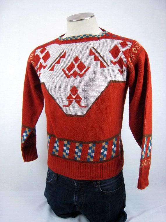 Vintage 1960s Sweater / Tribal Print Sweater / 60s Ski Sweater / Aztec Print Sweater