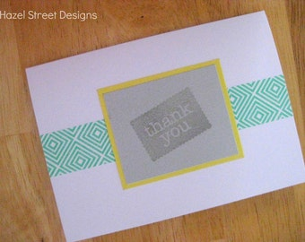 Thank You Card - Turquoise, Yellow and Gray