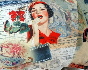 French Vintage Style Decor Pillow Letterings Woman in Red Fashion Flowers plus Bonus mini