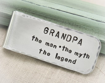 Daddy or Grandfather Money Clip Aluminum Hand Stamped Personalized Gift Father's Day