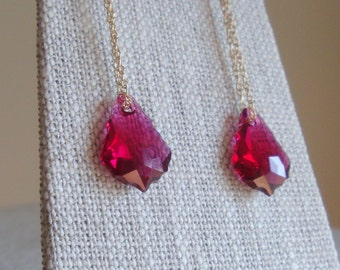 Bridal Party Earrings Swarovski Crystal Baroque Chain Earrings Ruby Crystal Earrings in Gold Filled